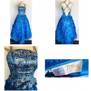 Tiffany Designs Iridescent Blue Sequin Ball Gown 2